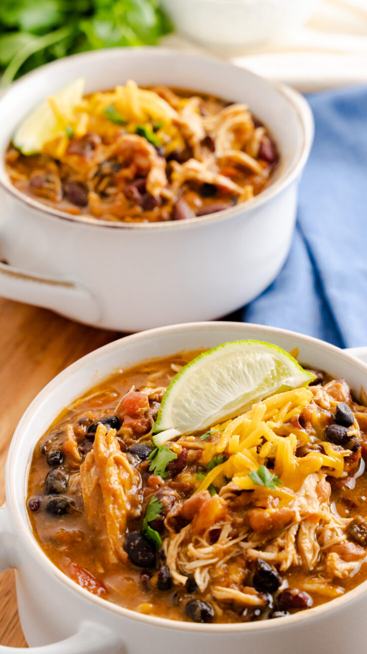 two bowls of instant pot chipotle chicken chili