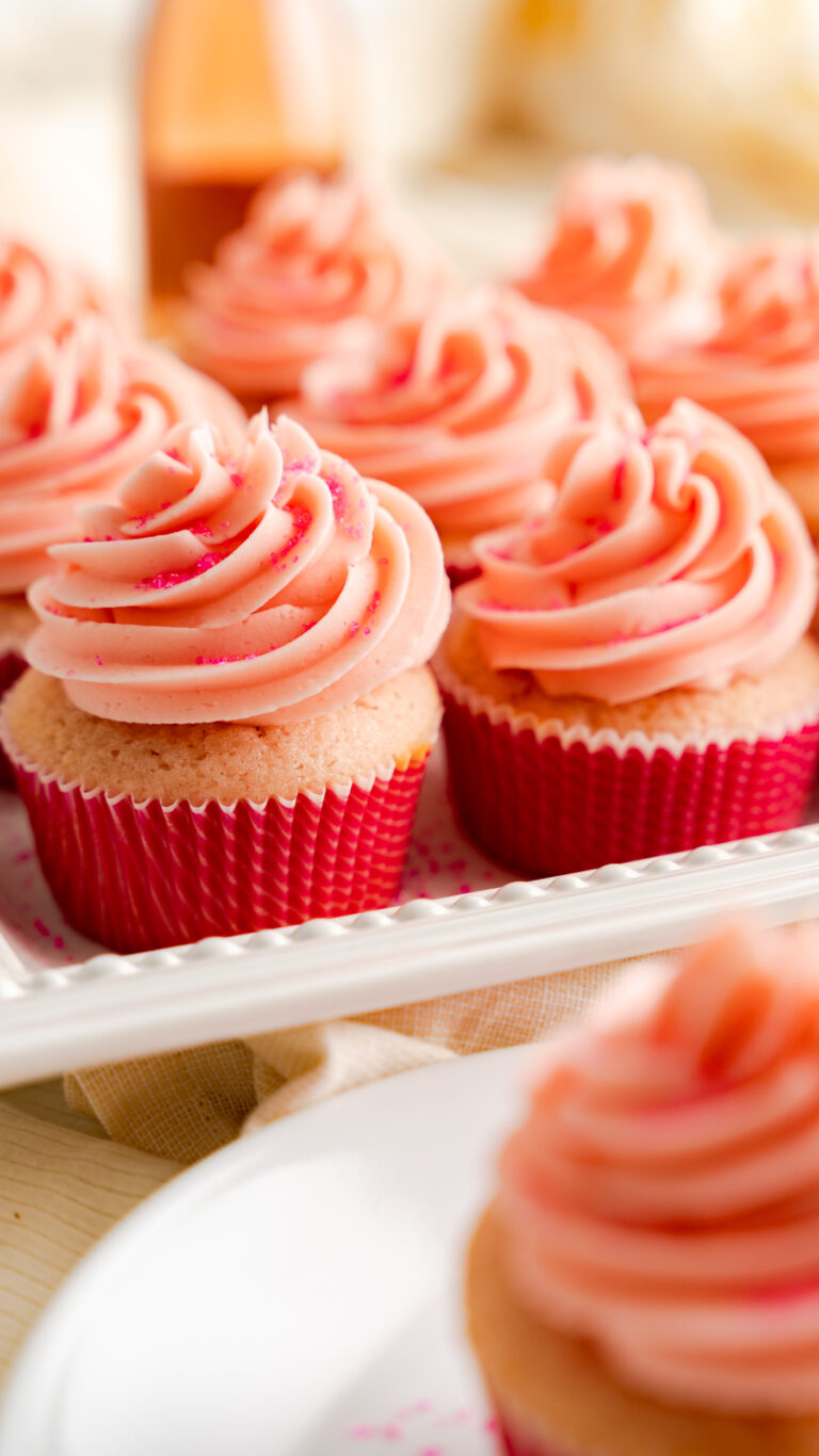 pink champagne cupcakes with buttercream frosting