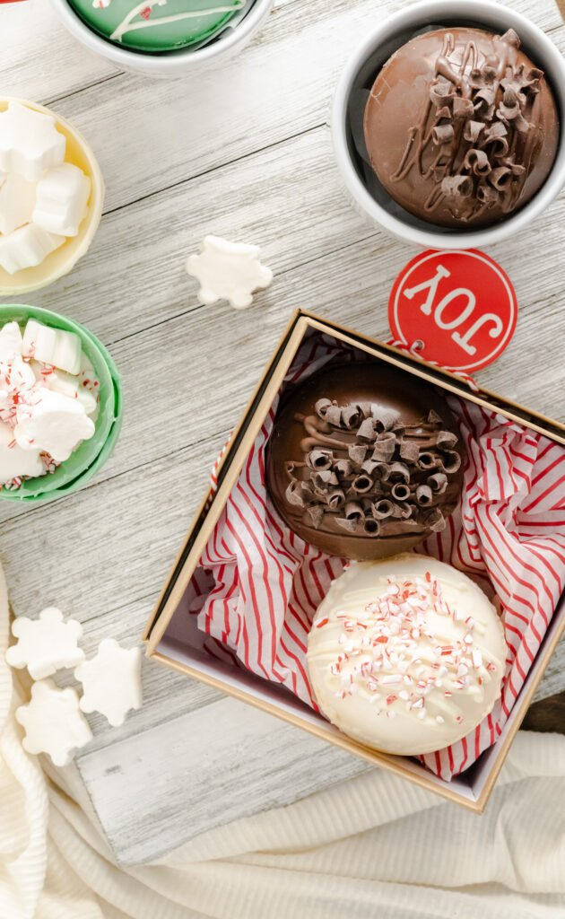 hot cocoa bombs in a gift box
