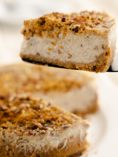 slice of butter pecan cheesecake on black cake server