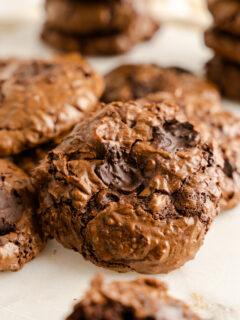 close up of flourless chocolate cookies