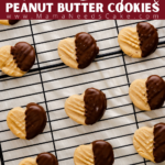 These heart peanut butter cookies are perfect Valentine's Day cookies for peanut butter lovers! Peanut Butter and chocolate are the perfect pair and these heart-shaped cookies are dipped in chocolate to make these cookies that much more special. #peanutbuttercookies #valentinesdaycookies #valentinesday #peanutbutterchocolate #dippedcookies #peanutbutterlovers #heartcookies #heartshaped