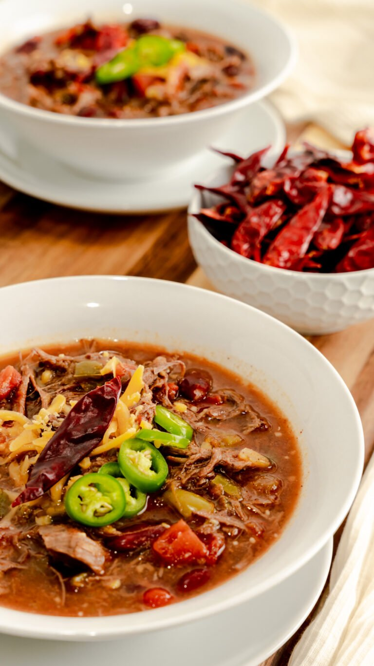 White bowl filled with Instant Pot Spicy Venison Chili
