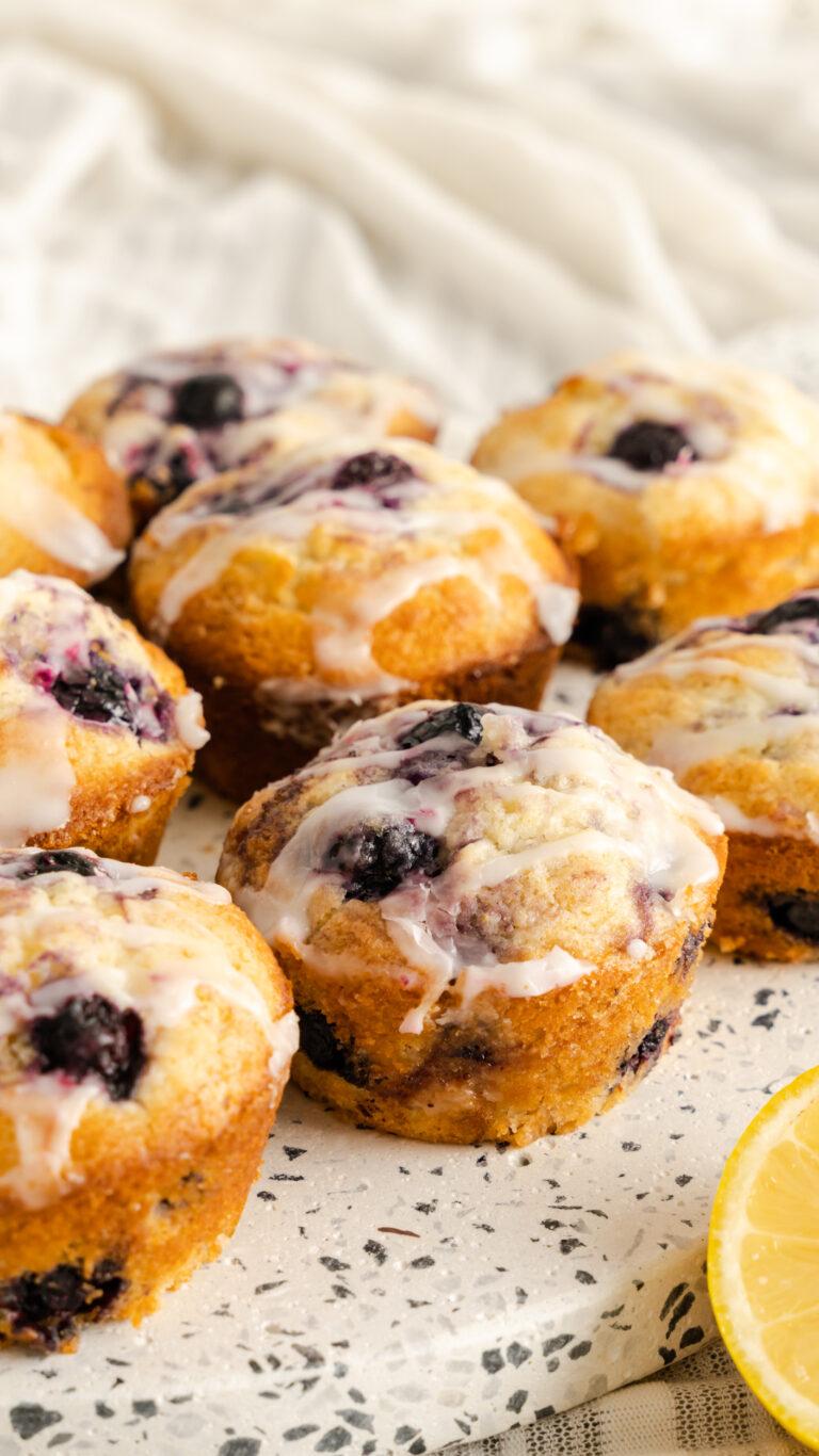 Lemon blueberry muffins on speckled serving platter