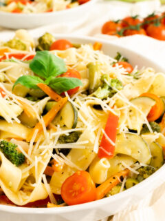 A large bowl of pasta primavera with parmesan and lemon garlic butter sauce