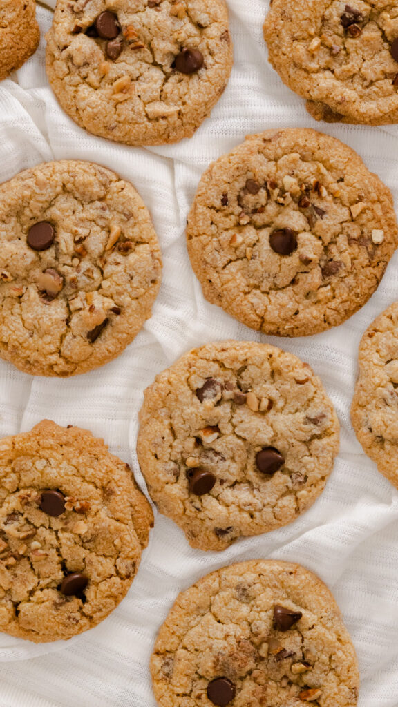 View of pecan cookies flat on fabric background.