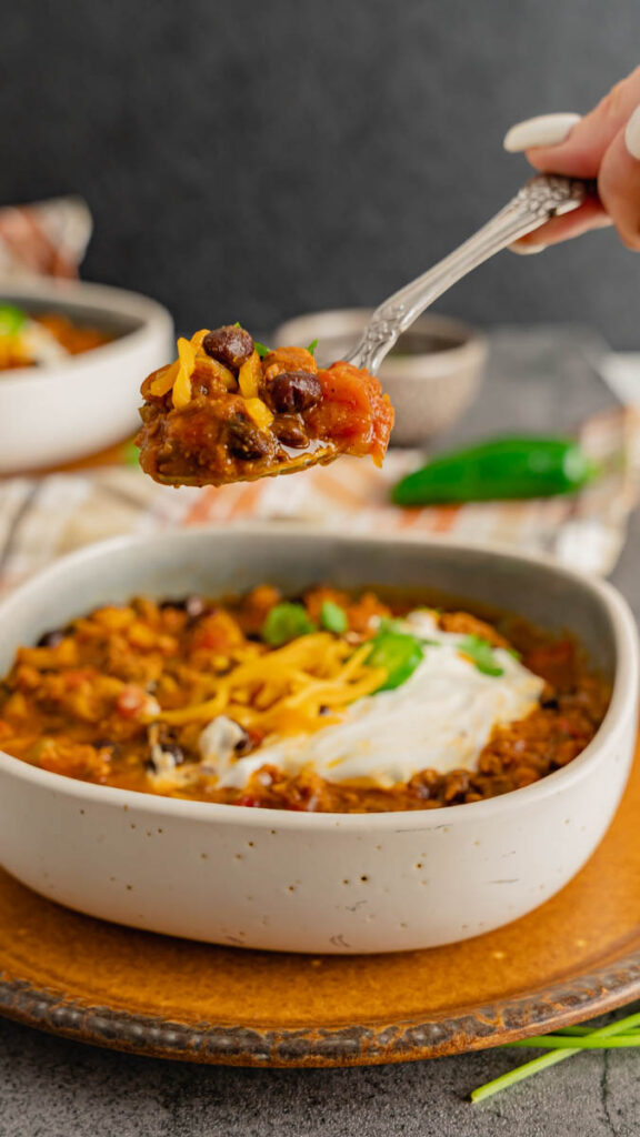 A spoonful of turkey and pumpkin chili with black beans.